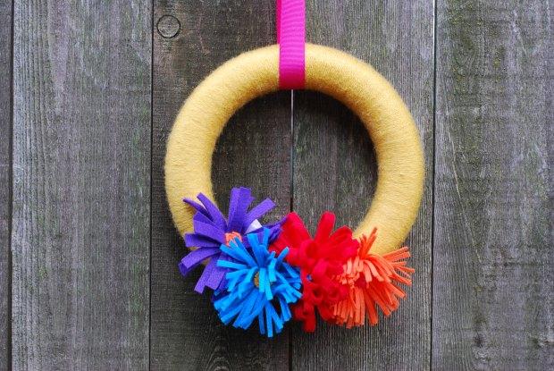 yellow yarn wreath