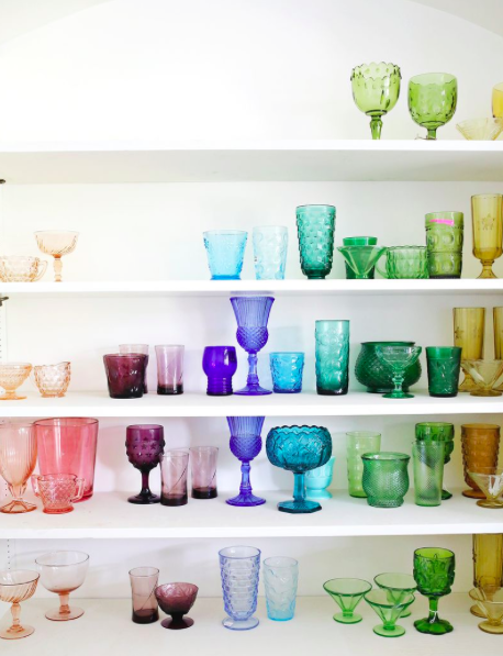 {a beautiful mess} Elsie's Rainbow Glassware Collection